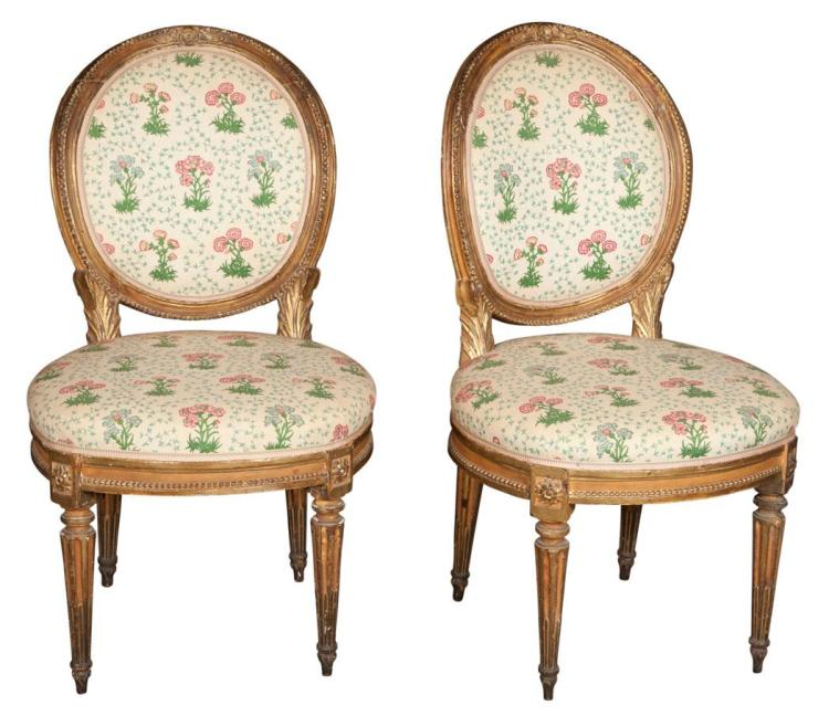 Pair of Italian Neoclassical Giltwood Side Chairs