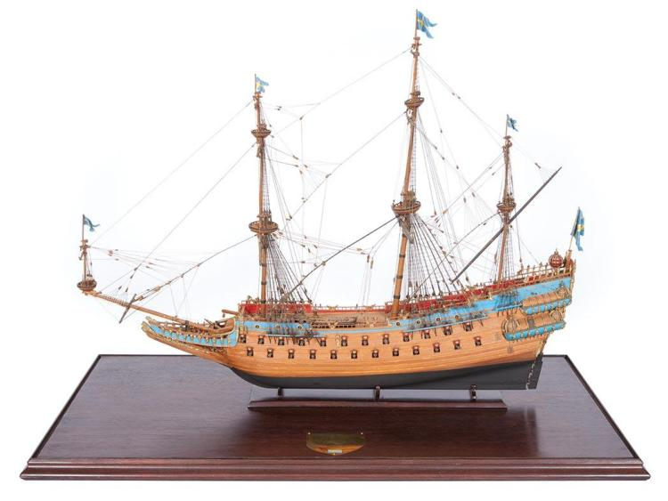 Model of the Swedish 64-Gun Ship of War Vasa by Lt. Col. Colin B. Gray MBE of Nantucket (1915-1992); T/W 3 books about the restoration