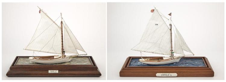 Two Models of the Friendship Sloops, one the Sloop Estella A, by Lt. Col. Colin B. Gray MBE of Nantucket (1915-1992)