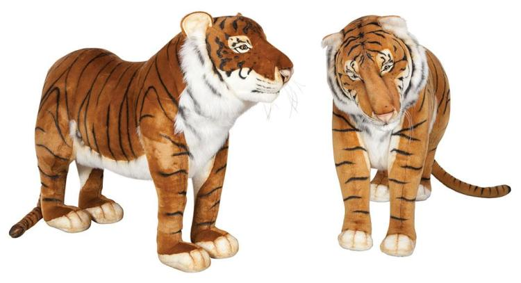 Pair of Hansa & Hansa Stuffed Figures of Tigers