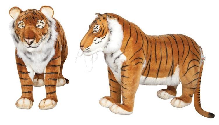 Pair of FAO Schwartz and Hansa Stuffed Figures of Tigers