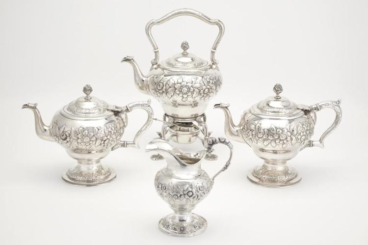 Assembled S. Kirk & Sons Sterling Silver Partial Tea Service; Together with a Similar S. Kirk Sterling Silver Creamer