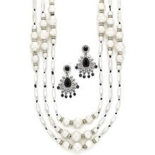 Multistrand Imitation Pearl and Rhinestone Bead Necklace and Black and Rhinestone Pendant-Earrings