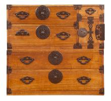 Korean Iron Mounted Wood Two-Part Chest