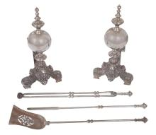 Pair of Baroque Style Steel Andirons; Together with Three Tools