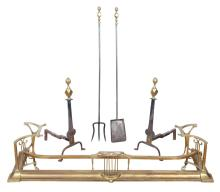 Pair of Wrought Iron and Brass Andirons; Together with a Pair of Brass and Iron Tools and Art Nouveau Style Fender