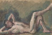 Pavel Tchelitchew Russian, 1898-1957 Reclining Male Nude