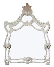 Louis XV Style White Painted Wood Overmantel Mirror    Height 43 inches, width 44 inches.