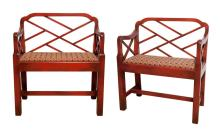 Pair of Red Painted Wood Benches