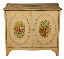 George III Style Paint Decorated Wood Cabinet