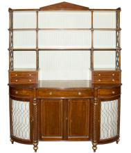Regency Style Mahogany and Parcel Gilt Bookcase Cabinet