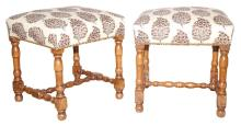 Pair of French Provincial Style Fruitwood Stools Upholstered with Robert Kime Fabric