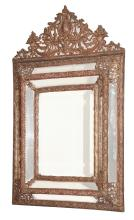 Baroque Style Metal and Mirror Framed Mirror