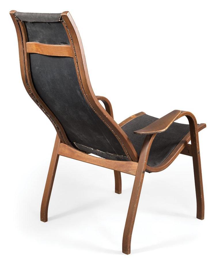 Yngve Ekstrom Lamino Upholstered Laminated Teak Lounge Chair