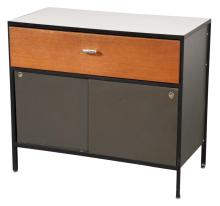 George Nelson Enameled Steel, Walnut and Laminate Side Cabinet