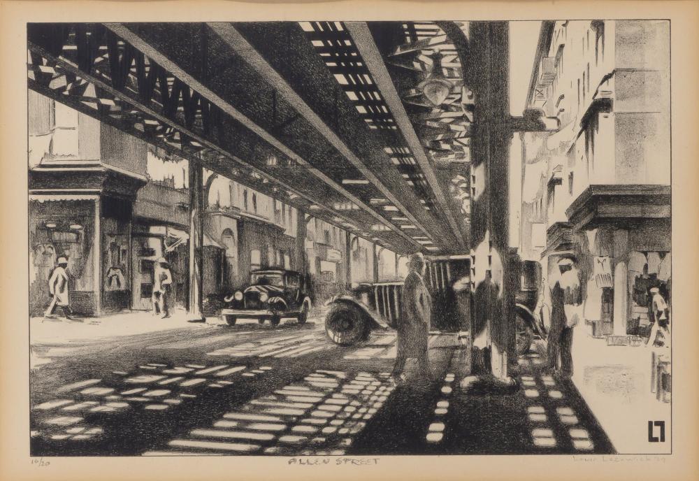 Louis Lozowick ALLEN STREET (UNDER THE EL) (FLINT 14) Lithograph