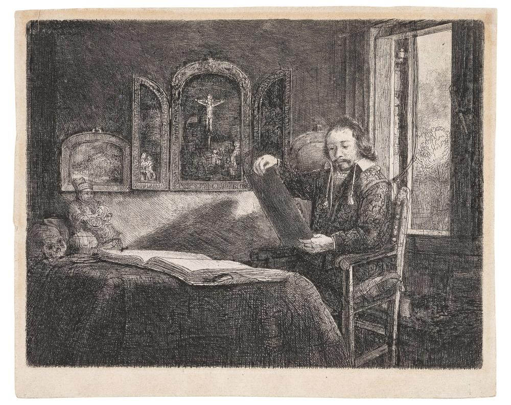 Rembrandt van Rijn ABRAHAM FRANCEN, APOTHECARY (BARTSCH 273; HIND 291; NEW HOLLSTEIN 301) Etching, engraving and drypoint