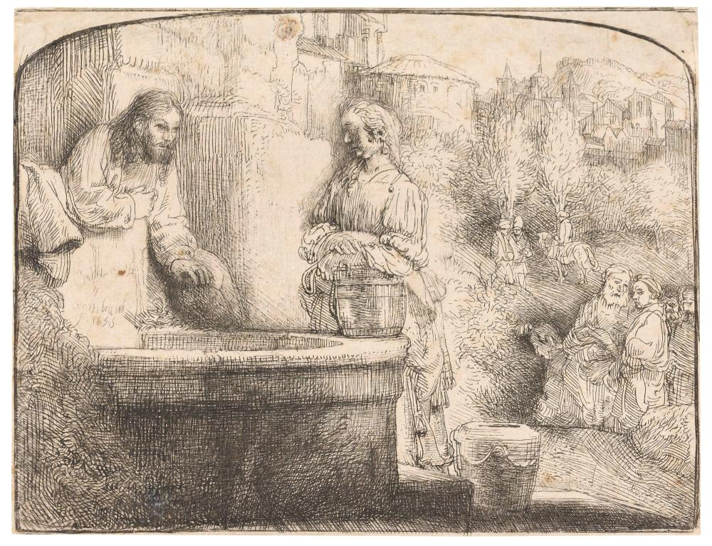 Rembrandt van Rijn CHRIST AND THE WOMAN OF SAMARIA: AN ARCHED PRINT Etching and drypoint