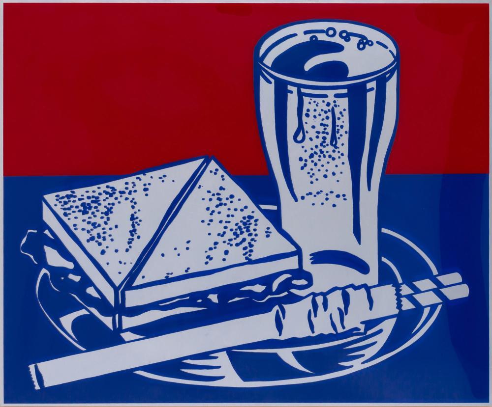 Roy Lichtenstein SANDWICH AND SODA (CORLETT 35) Color screenprint on clear plastic, from Ten Works x Ten Painters