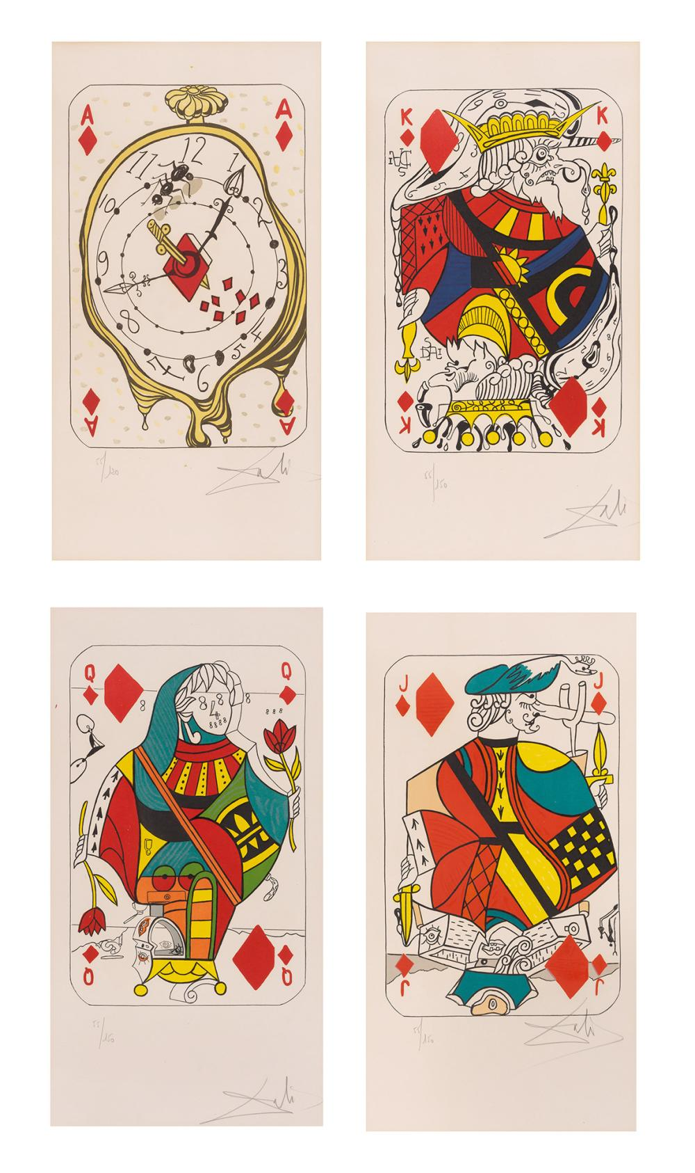 Salvador Dalí ACE OF DIAMONDS; KING OF DIAMONDS; QUEEN OF DIAMONDS; JACK OF DIAMONDS (FIELD 72-4) 4 color lithographs f. Playing Cards