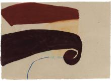 Suzan Frecon American, b. 1941 Untitled (Dark Red & Vermillion Shapes, Blue Stroke), 2003