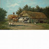 Hermanus Charles Christiaan Bogman Dutch, 1861-1921 Hay Wagon