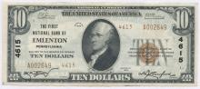 United States National Currency $10 Emlenton Note 4615