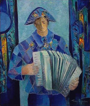 Tony Agostini Italian, 1916 - 1990 HARLEQUIN A L'ACCORDEON