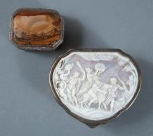 Continental Silver-Gilt Snuff Box; Together with a Silver-Gilt and Agate Vinaigrette