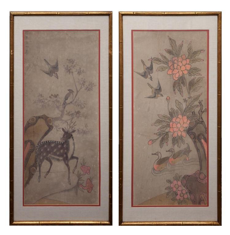 Korean School 19th Century Ducks and Deer: Two