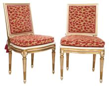 Pair of Italian Neoclassical Style Painted and Parcel Gilt Side Chairs
