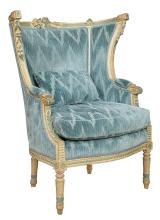 Louis XVI Style Painted Wing Armchair