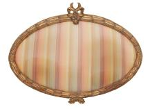 Louis XVI Style Giltwood Frame; Together with a Roman Shade en suite