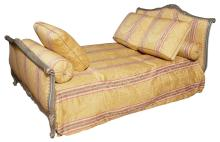Louis XV Style Painted Bedstead; Together with a Coverlet, two long bolsters and three cushions