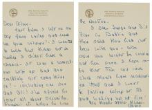 REAGAN, NANCY Group of five signed manuscript notes. Includes a three page letter signed on two sheets of Mrs. Reagan's Exec...