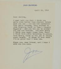 CRAWFORD, JOAN Group of seven typed letters signed