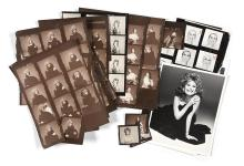 [AILEEN MEHLE] Group of contact sheets depicting Mehle. Comprising approximately fifteen contact sheets depicting Mehle in a...