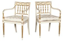 Pair of Northern European Neoclassical Painted and Parcel Gilt Open Armchairs