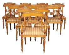 Set of Ten Russian Karelian Birch Dining Chairs