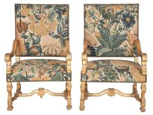 Pair of Louis XIV Needlework Upholstered Giltwood Fauteuils à la Reine   Late 17th century Each padded backrest and overup...