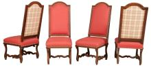 Set of Four Continental Baroque Walnut Side Chairs