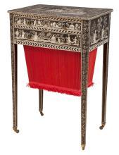 Regency Penwork Decorated Sewing Table