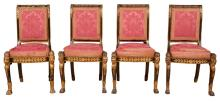 Russian Painted and Parcel-Gilt Side Chair; Together with three later copies
