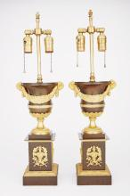 Pair of Charles X Gilt and Patinated-Bronze Urns