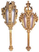 Two Similar Venetian Giltwood Gondola Lanterns