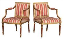 Pair of George III Faux Rosewood Grained and Parcel Gilt Armchairs