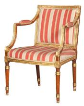George III Faux Rosewood Grained and Parcel Gilt Armchair