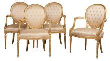 Set of Four George III Giltwood Armchairs