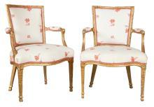 Pair of George III Giltwood Open Armchairs
