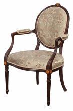George III Inlaid Mahogany Open Armchair